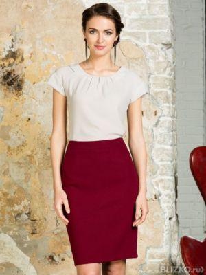 Бордовая классическая юбка