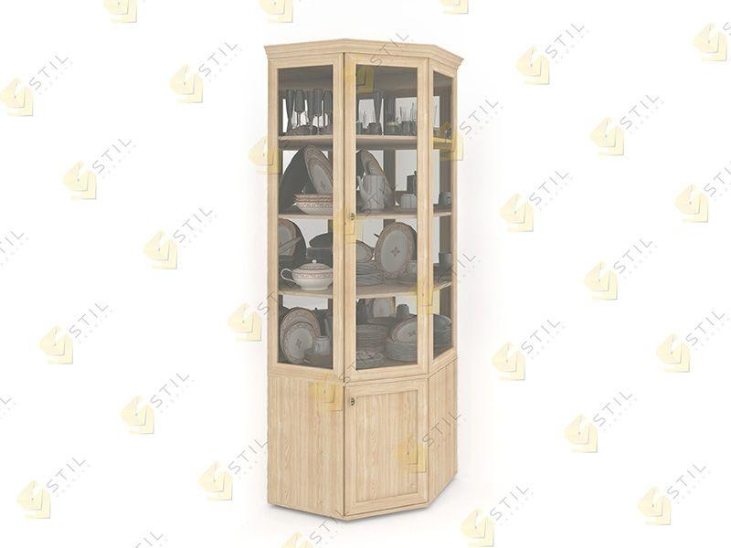 Угловой посудный шкаф (сервант) для гостиной витраж 1с от ко.