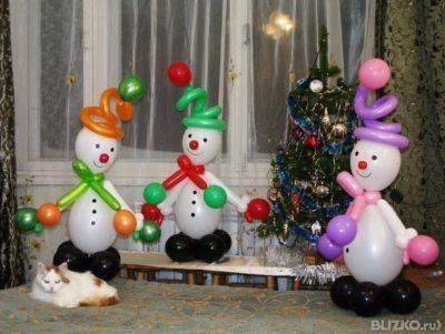 Новогоднее оформление шарами - снеговик из шаров в городе Новосибирск. Цена товара от 500 руб./шт., под заказ - на портале BLIZK